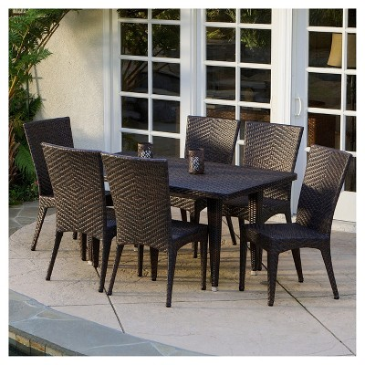 Brooke 7pc Wicker Patio Dining Set - Brown - Christopher Knight Home