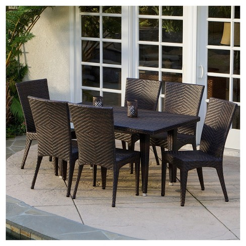 Brooke 7pc Wicker Patio Dining Set - Brown - Christopher Knight Home - image 1 of 4