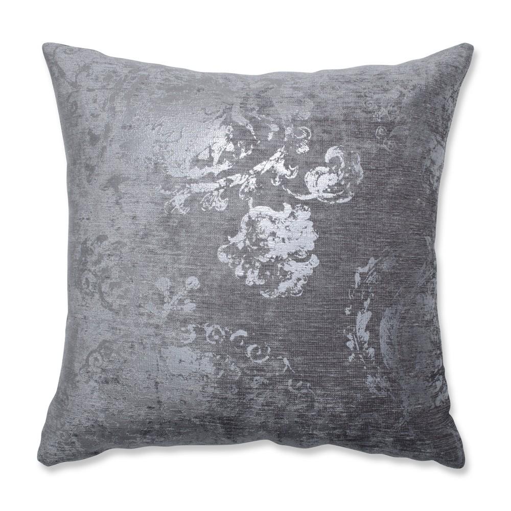 Metallic Suzani Square Throw Pillow Gray - Pillow Perfect