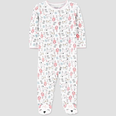 Baby Girls' Puppy All Over Print 1pc Pajama - Just One You® made by carter's White 3M