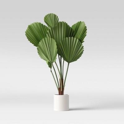 "40"" x 38"" Artificial Ruffle Fan Palm in Pot Green/White - Project 62™"
