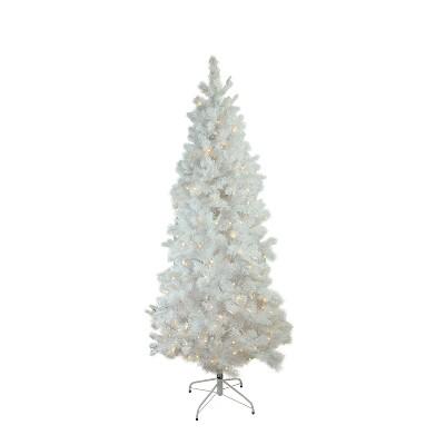 Northlight 7.5' Prelit Artificial Christmas Tree LED Flocked White Pine Slim - Warm White Lights