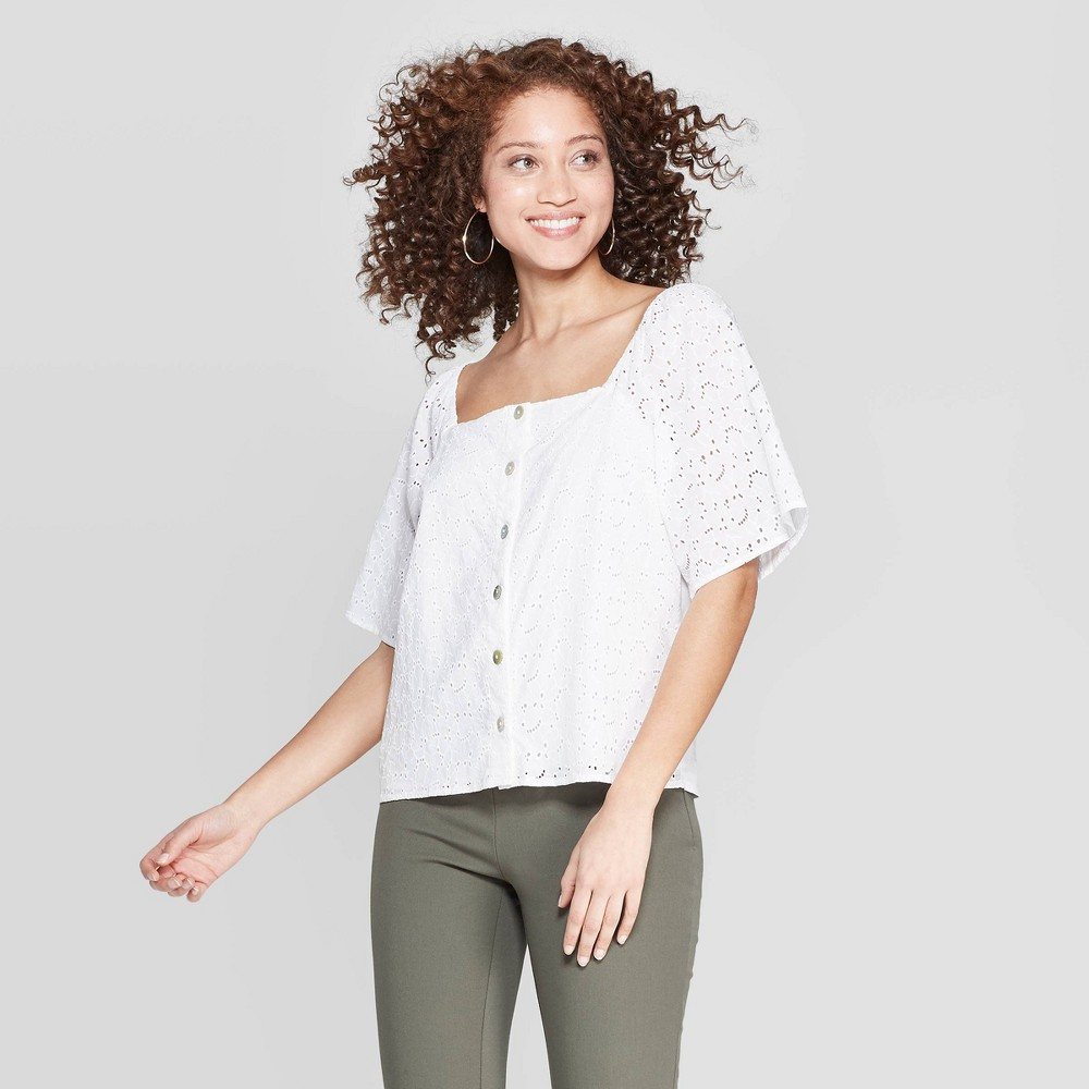 Women's Short Sleeve Square Neck Eyelet Top - A New Day White M