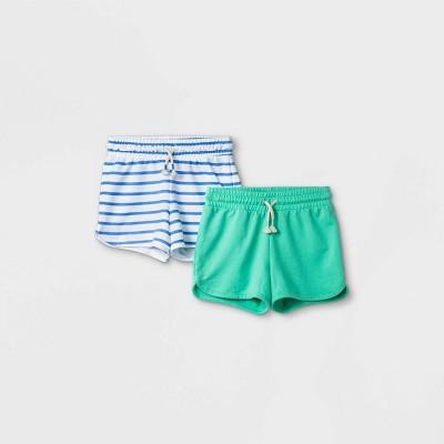 Girls' 2pk Knit Pull-On Shorts - Cat & Jack™ Green/Blue
