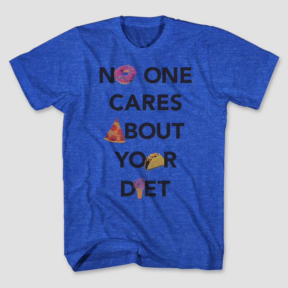 Men's Short Sleeve No One Cares T-Shirt - Royal Heather M, Blue