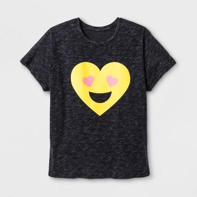 edfa5e731 Women's Plus Size Short Sleeve Emoji T-Shirt - Black : Target