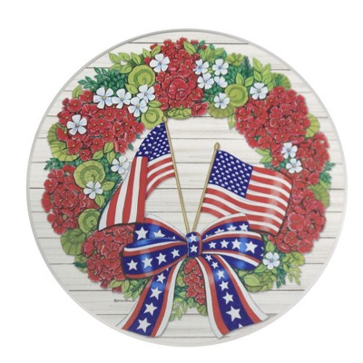 """Home & Garden 12.0"""" Flag Wreath Stepping Stone Geraniums Red White Blue Custom Decor  -  Stepping Stones And Pathways"""