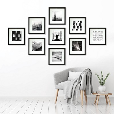 "(Set of 9)8"" x 8"" Matted Set Black - Made By Design™"