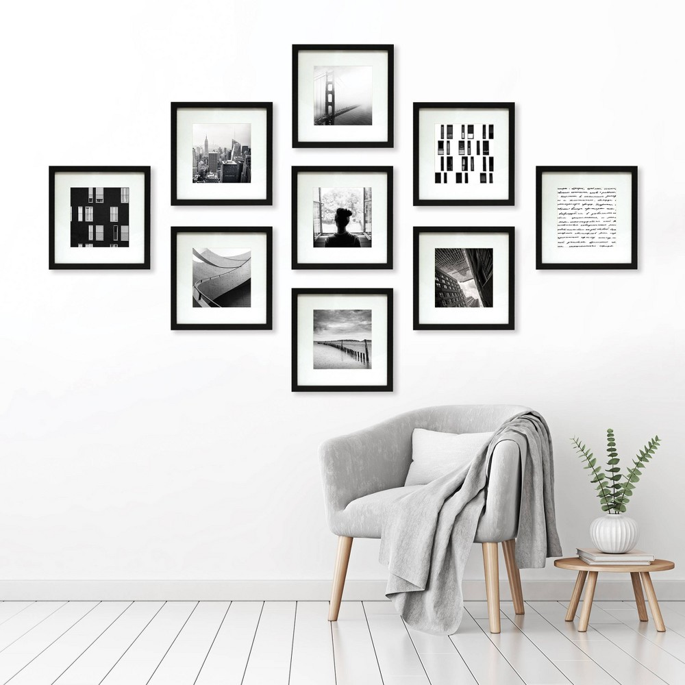 """Image of """"9pc 8""""""""x8"""""""" Matted Set Black - Made By Design"""""""