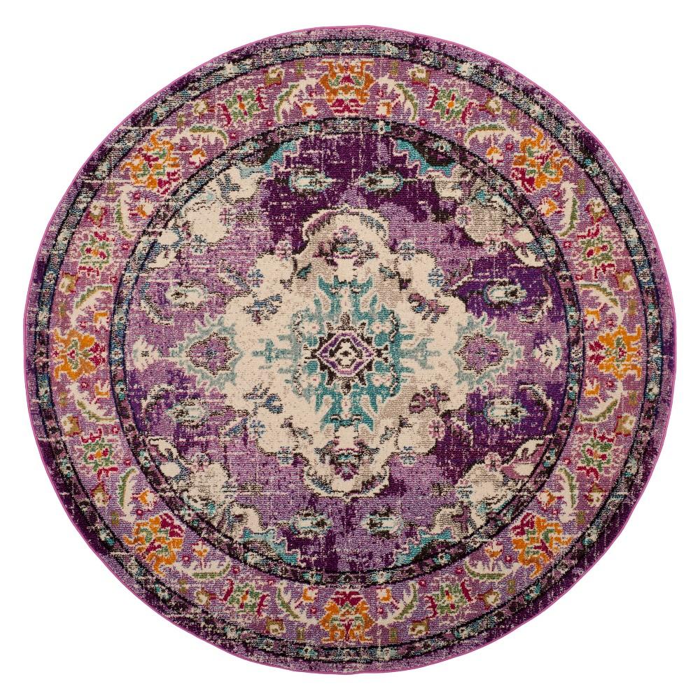 6 7 Medallion Round Area Rug Violet Light Blue Safavieh