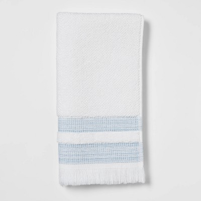 Chambray Border Stripe Hand Towel White/Blue - Threshold™