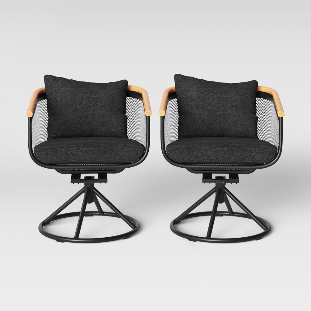 Bangor 2pk Swivel Rocker Patio Dining Chair Charcoal - Project 62