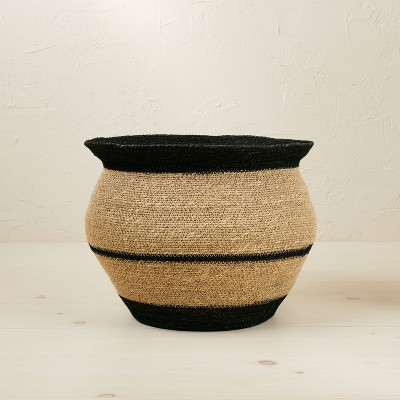 """10"""" x 14"""" Round Seagrass Decorative Basket Black - Opalhouse™ designed with Jungalow™"""