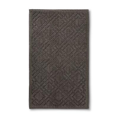 34 x20  Lattice Bath Mat Dark Gray - Fieldcrest®