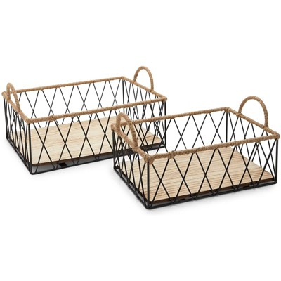 Juvale 2 Pack Wire Baskets Set with Handles, Wood Organizing Bins (2 Sizes)