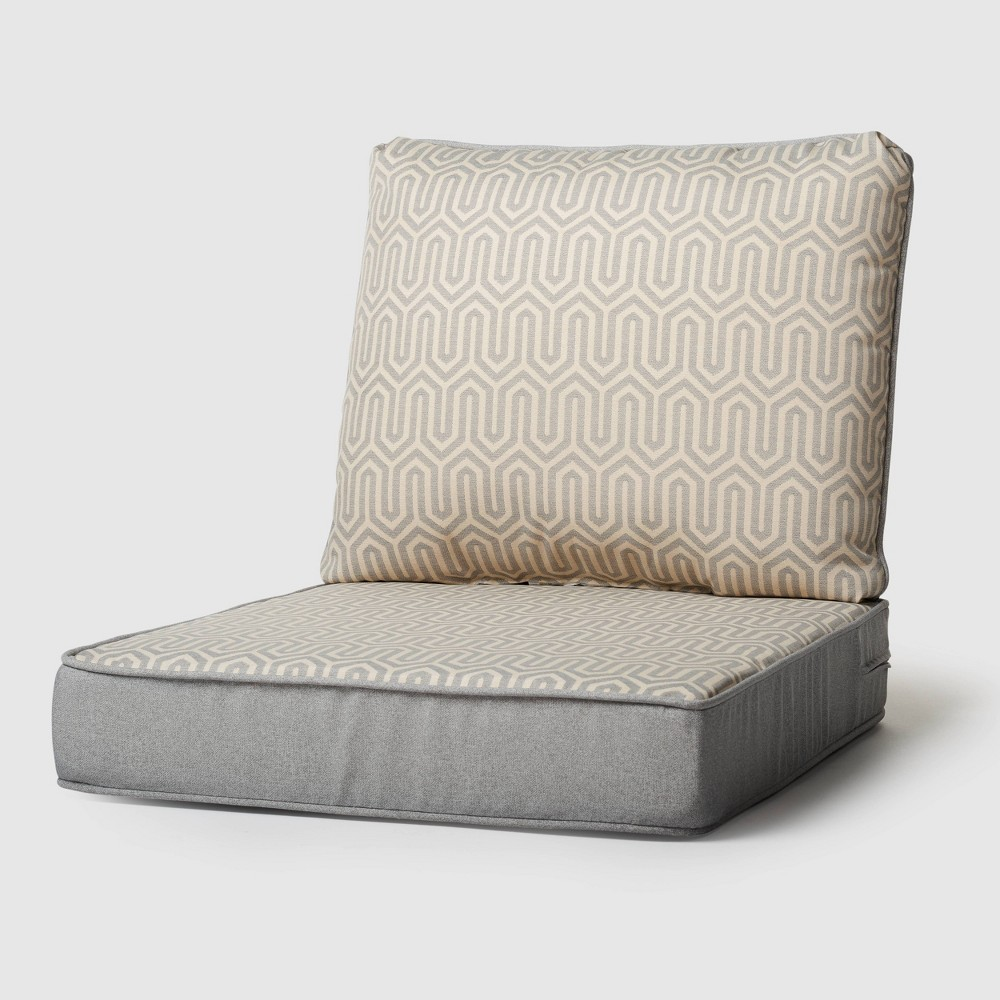 Image of 2pc Rolston Outdoor Seat and Back Replacement Cushions Gray - Grand Basket
