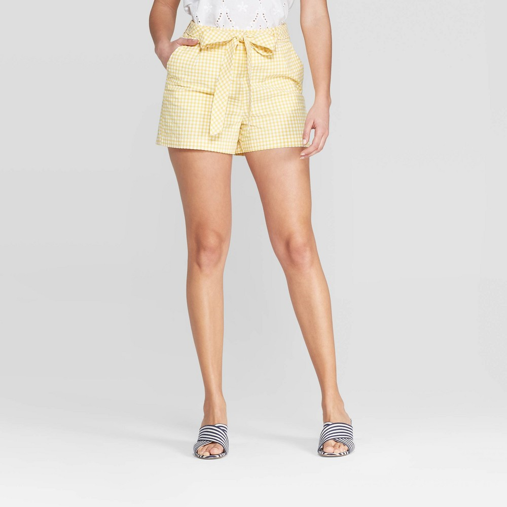 Women's Gingham Print High-Rise Seersucker Tie Chino Shorts - A New Day Yellow 2