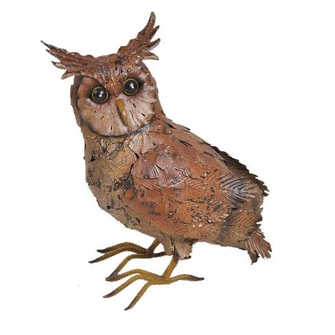 "13"" Metal Owl with Wings Tucked Otudoor Statue Brown - Hi-Line Gift - image 1 of 1"