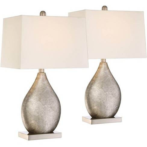 360 Lighting Modern Table Lamps Set of 2 Silver Metal Teardrop Off White Rectangular Shade for Living Room Family Bedroom Bedside - image 1 of 4