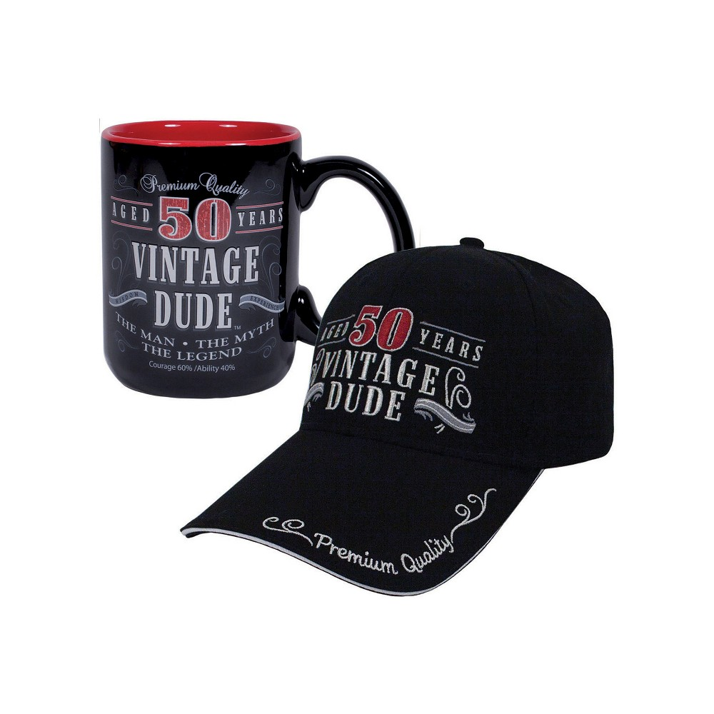 Vintage Dude 50 Hat And Coffee Mug Bundle