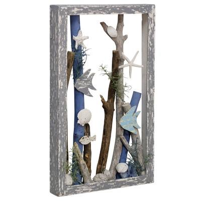 "20"" x 12"" Sea Dive Ocean Motif Wooden Shadow Box Table Top Wall Sculpture Gray - StyleCraft"