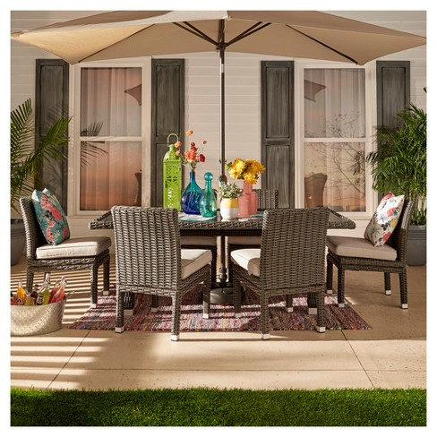 Riviera Pointe 5pc All Weather Wicker Gl Top Patio Cushions Inspire Q Target