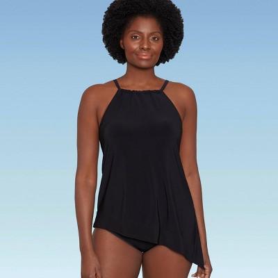 Women's Slimming Control Asymmetrical Hem Tankini Top - Dreamsuit by Miracle Brands Black