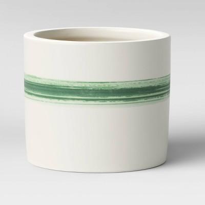 5  Horizontal Striped Earthenware Planter Green - Threshold™