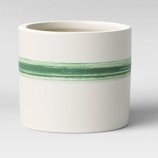 "5"" Horizontal Striped Earthenware Planter Green - Threshold™"