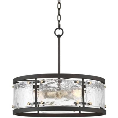 "Possini Euro Design Bronze Brass Pendant Chandelier 19"" Wide Modern Drum Handmade Waterglass for Dining Room House Foyer Kitchen"