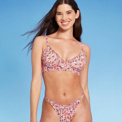 Women's Ruffle Trim Bralette Bikini Top - Shade & Shore™ Ditsy Floral