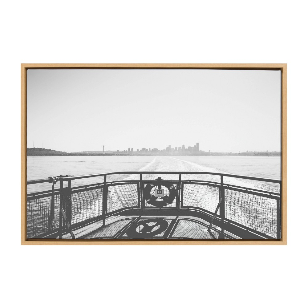 """Image of """"23"""""""" x 33"""""""" Sylvie Morning Ferry Framed Canvas Wall Décor By Patricia Hasz - DesignOvation, Beige"""""""
