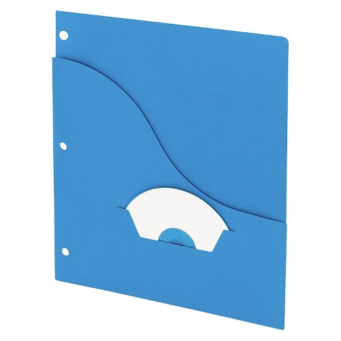 Pendaflex® Essentials™ Essentials Slash Pocket Project Folders, 3 Holes, Letter, Blue, 25/Pack - image 1 of 1
