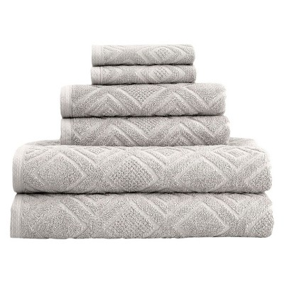 6pc LaRue Turkish Cotton Bath Towel Sets Stone - Makroteks