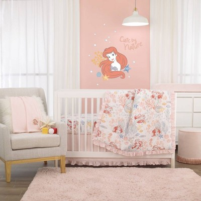 Disney The Little Mermaid Ariel Nursery Crib Bedding Set - Pink/Coral/Teal 6pc
