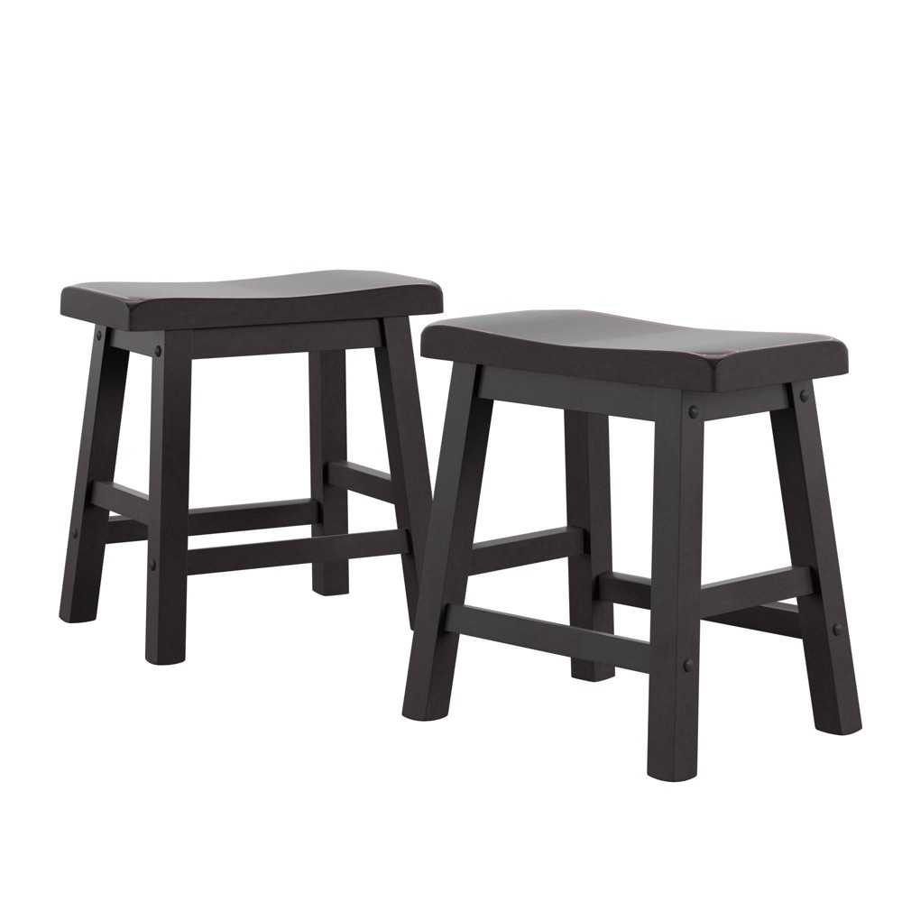 """Image of """"18"""""""" Set of 2 Scoop Counter Stools Black - Inspire Q, Size: 18"""""""" Stool"""""""