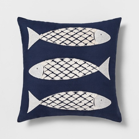 Embroidered Fish Square Throw Pillow Navy Threshold Target