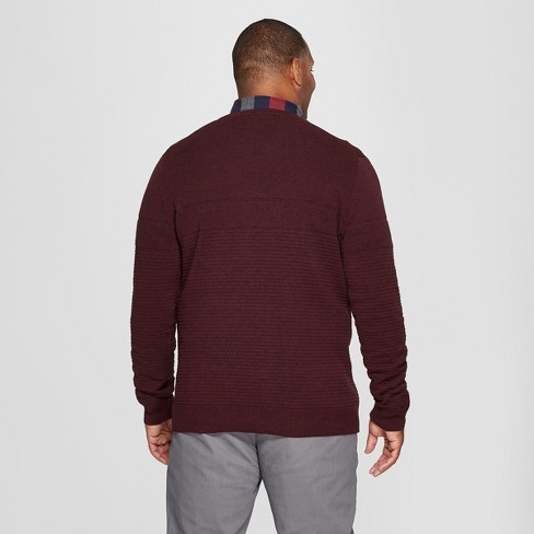 0bc67d0614 Men s Big   Tall Long Sleeve V-Neck Sweater - Goodfellow   Co™ Burgundy  Heather   Target