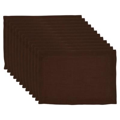 12pk Polyester Hemstitched Border Placemats Brown - Saro Lifestyle