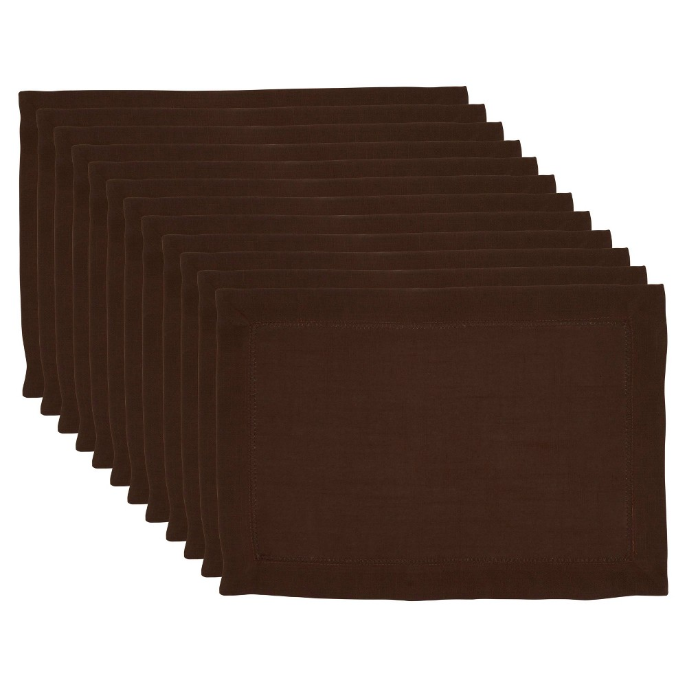 Image of 12pk Polyester Hemstitched Border Placemats Brown - Saro Lifestyle
