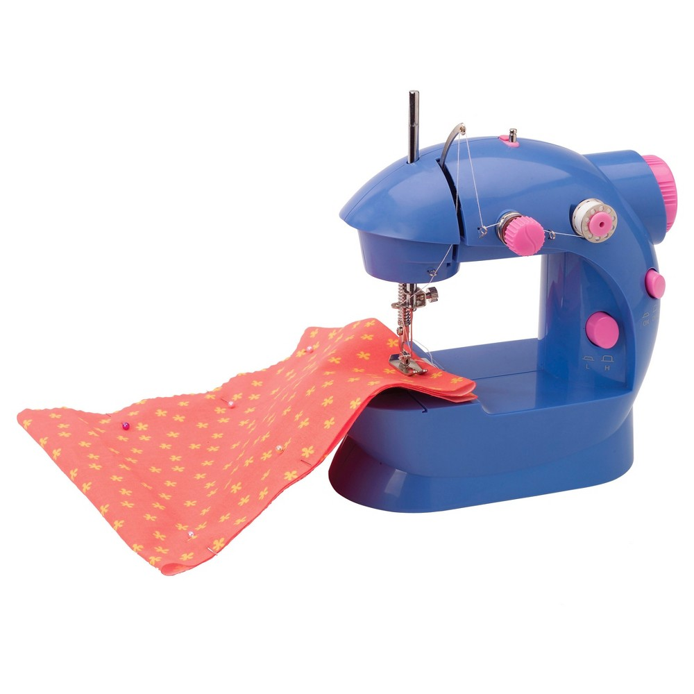 Alex Toys Craft Sew Fun Craft Kit The Alex Sew Fun sewing machine provides exposure to the basics of sewing. It lets your little one stitch his or her outfits or accessories. From fabric and bobbins to the needle threader and sewing thread, this sewing machine offers everything to simplify the job. Its presser foot keeps little fingers safe. This kids' sewing machine helps develop your tot's creative abilities. It runs on AC as well as battery power. A fashionably designed carrying case is included along with this kids' sewing machine to keep all the accessories organized. Its lightweight and portable design allows your child to take this fun machine anywhere he or she goes. This Alex Sew Fun sewing machine makes a great gift for children ages 8 and older.