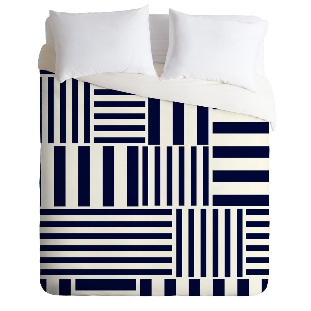 King Khristian A Howell Café' Du Monde Stripe Duvet Set Black - Deny Designs