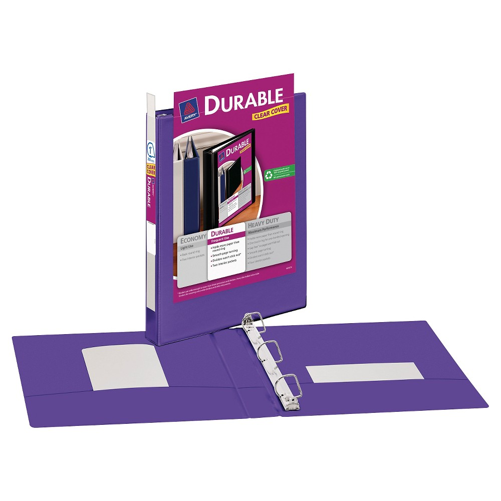 "Image of ""Avery 1"""" Durable 3 Ring Binder with Clear Cover Purple"""