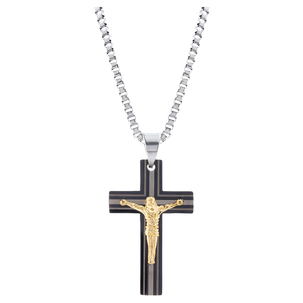 Tri-Tone Stainless Steel Men's Crucifix Pendant 24 Box Chain Necklace, Multi-Colored