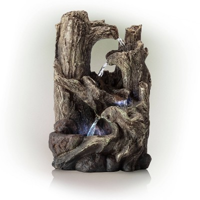 Alpine Corporation 14  5-Tiered Rainforest Tree Trunk Tabletop Fountain - Brown