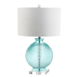 26u0022 Estelle Glass and Crystal LED Table Lamp Aqua (Includes Energy Efficient Light Bulb) - JONATHAN Y