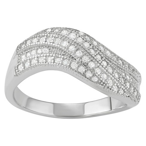 5/8 CT. T.W. Round-Cut CZ Pave Set Wave Fashion Ring in Sterling Silver - image 1 of 2