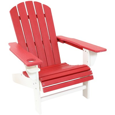 Sunnydaze Plastic All-Weather Heavy-Duty Outdoor Adirondack Chair with Drink Holder, Red and White