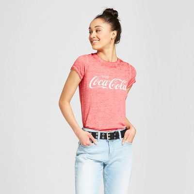 b274e29405282 Women s Coca-Cola Short Sleeve Graphic T-Shirt (Juniors ) Red   Target