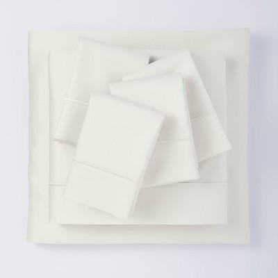 Queen 6pc 1000 Thread Count Solid Sheet Set Sour Cream - Threshold Signature™